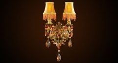 classical bronze & crystal wall lamp, 24K gold plated