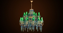 Luxury antique crystal green chandelier, pendent lamp,copper gold plated
