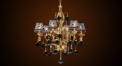 Luxury antique crystal&flower lampshade chandelier, pendent lamp,copper gold plated