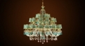 Luxury antique crystal&green lampshade chandelier, copper gold plated