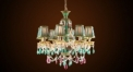 Antique green lampshade&porcelain crystal chandelier, pendent lamp,copper gold plated