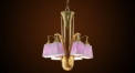 crystal chandelier, residential lighting,pink lampshade