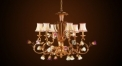 Luxury antique lampshade chandelier with porcelain rose, pendent lamp,copper gold plated