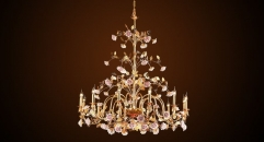 Luxury porcelain candle shape floral chandelier, pendent lamp,copper gold plated