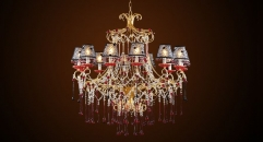 Antique black and red crystal chandelier, pendent lamp,copper gold plated