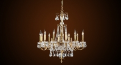 Luxury antique candle shape crystal chandelier,pendent lamp,copper gold plated