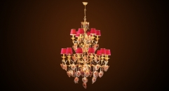 Antique flora crystal chandelier(big size),residential lighting,copper gold plated & leaf decorated