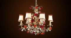 Antique lampshade style floral chandelier,residential lighting,pendent lamp,copper silver plated