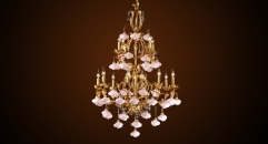 Antique crystal flora&candle lamp style chandelier,pink lampshade,copper gold plated