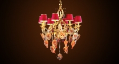 antique crystal&flower lampshade chandelier,residential lighting,copper gold plated & leaf decorated