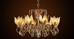 crystal chandelier, residential lighting, flower type lampshade