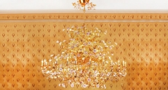 Luxury antique porcelain floral chandelier ,pendent lamp,copper gold plated
