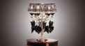 European table lamp,classical crystal table lamp, leaf decorated