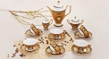 17 pcs golden porcelain Versace tea set, round mouth