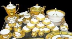 70 pcs golden Versace (Bone China) Dinnerware, round mouth