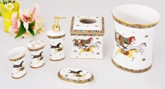 6 pcs royal horse white glaze bathroom set(flat)