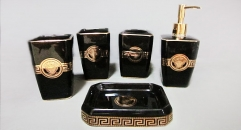 5 pcs black glaze royal VERSACE porcelain bathroom set