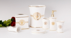 6 pcs royal VERSACE white glaze bathroom set (flat)