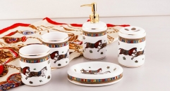 5 pcs royal porcelain horse bathroom set, round mouth