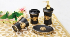 4 pcs royal VERSACE black glaze bathroom set (round)