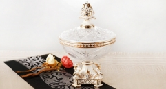 crystal and porcelain flower decorative candy jar