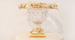 crystal and porcelain grape plinth compote