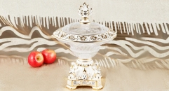 crystal and porcelain candy jar phoenix coronet top