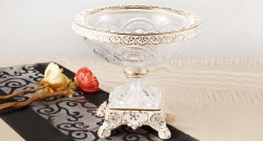 crystal and porcelain compote