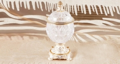 crystal and porcelain candy jar