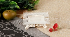 Italy style crystal and porcelain rectangular ashtray