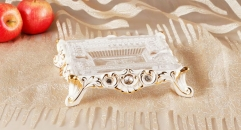 crystal and porcelain square embossed ashtray