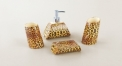 4 pcs royal ivory porcelain leopard bathroom set