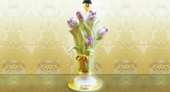 Imperial lily table lamp (colored with green leaves)