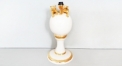 Italian porcelain double leopard table lamp
