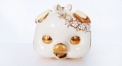 porcelain piggy storage jar with crystals