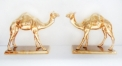 porcelain golden double camel figures