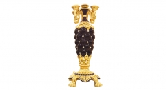 black glaze 5 arm candelabra  lion feet candle holder with crystals