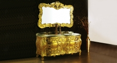 leaf paint golden oak ,green marble cabinet and mirror