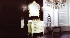 ivory oak, volakas white marble cabinet and mirror