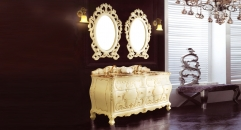 beige and description golden oak, golden brown marble cabinet and mirror