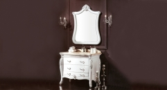 white and description silver oak, Galala marble cabinet and mirror
