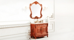 orange and brown ash board, color jade marble cabinet and mirror