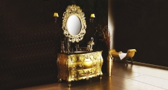 golden paint  oak ,portopo marble cabinet and mirror