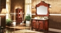 red brown oak, seven color gen marble cabinet and mirror