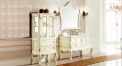 ivory and leaf paint silver oak, volakas white marble cabinet and mirror