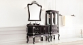 black and leaf paint silver oak, portoro marble cabinet and mirror