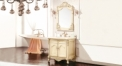 light yellow ash board, golden line beige marble cabinet and mirror