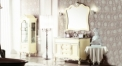 ivory and hand paint silver oak, volakas white marble cabinet and mirror