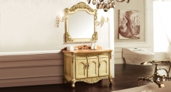 light yellow ash board, wood grain yellow marble cabinet and mirror