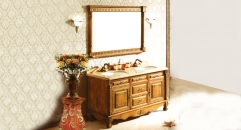 yellow brown oak, golden line beige thicken marble cabinet and mirror